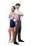 Jeune homme dans un chapeau et une femme en bref Image stock