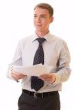 Jeune homme dans un procès de bureau Photo stock