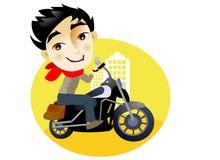 Jeune homme dans une motocyclette Image libre de droits