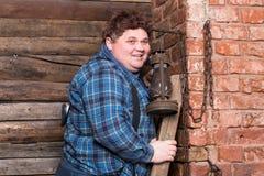 Jeune homme de poids excessif heureux Photo libre de droits