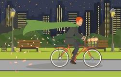 Jeune homme de recyclage de promenade dans le costume et dans l'imperméable illustration libre de droits