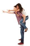 Jeune homme effectuant son dos mignon de fille Images libres de droits
