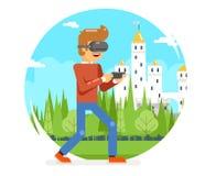 Jeune homme en verre de réalité virtuelle de VR jouant le vecteur visuel plat d'expérience de la conception 3d Digital de personn Images stock