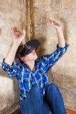 Jeune homme en verres de VR Photographie stock