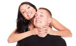 Jeune homme et femme de fureur d'amour. Photos stock