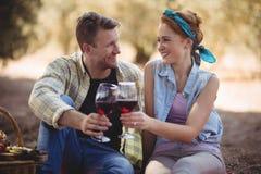 Jeune homme et femme de sourire grillant des verres à vin Photo stock