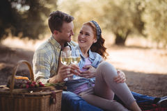 Jeune homme et femme regardant l'un l'autre tout en tenant des verres à vin à la ferme Photographie stock
