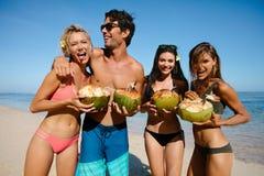 Jeune homme et femmes ayant l'amusement sur la plage Photo libre de droits