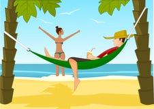 Jeune homme et son amie détendant sur une plage Illustration de Vecteur