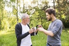 Jeune homme et son père supérieur avec des verres de VR dehors Photo stock