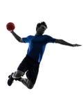 Jeune homme exerçant la silhouette de joueur de handball Image stock