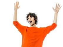 Jeune homme faisant des gestes le portrait heureux étonné de joie Image libre de droits