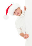 Jeune homme heureux dans le chapeau de Santa de Noël Images stock