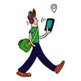 Jeune homme marchant avec le comprimé Illustration de vecteur Photo stock
