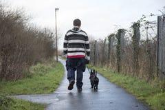 Jeune homme marchant son chien écossais de terrier Photographie stock