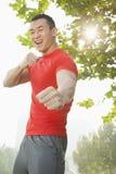 Jeune homme musculaire dans une position de combat photos stock