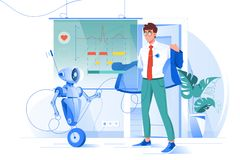 Jeune homme plat sur des diagnostics de robot avec le diagramme de fréquence cardiaque illustration de vecteur