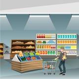 Jeune homme poussant un chariot vide de supermarché illustration libre de droits