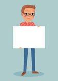 Jeune homme retenant le signe blanc Images libres de droits