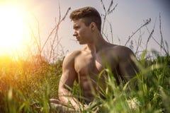Jeune homme sans chemise musculaire de gros morceau extérieur en nature photo libre de droits