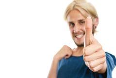 Jeune homme satisfait renonçant au pouce Images libres de droits