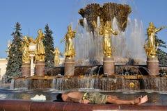 Jeune homme se reposant à une amitié de fontaine des peuples Images libres de droits