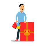 Jeune homme se tenant avec les achats et l'illustration rouge énorme de vecteur de personnage de dessin animé de boîte-cadeau illustration libre de droits