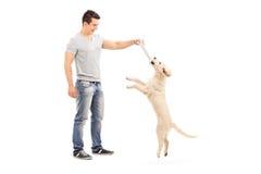 Jeune homme tenant un os et jouant avec le chiot Image libre de droits