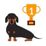 Jeune illustration animale de pure race de vecteur de race de petit de teckel chien doux mammifère de race brun mignon de chiot Images stock