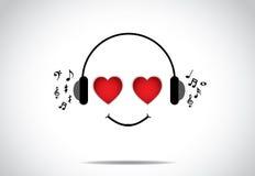 Jeune illustration heureuse de persion d'écouter la grande musique avec les yeux en forme de coeur Photos libres de droits