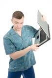 Jeune indépendant et un ordinateur Photographie stock