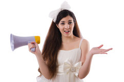 Jeune jeune mariée dans le concept drôle sur le blanc Images stock