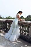 Jeune jeune mariée magnifique avec les cheveux foncés dans la robe de mariage élégante images libres de droits