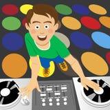 Jeune jockey de disque pour les disques de vinyle et mélangeur dans le club illustration libre de droits