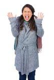 Jeune joli modèle avec des cris de vêtements d'hiver Images stock