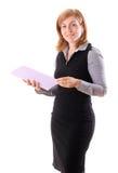 Jeune jolie femme avec le document Image stock