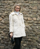 Jeune jolie femme dans le manteau de fourrure avec l'embrayage Image stock