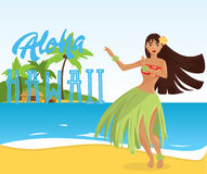 Jeune jolie femme de danseur hawaïen de danse polynésienne Photos libres de droits