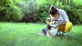 Jeune jolie femme de sourire avec le chien mignon de corgi de Gallois se situant dans l'hamac vert clair en parc banque de vidéos