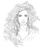 Jeune jolie femme Fille tirée d'élégance en fleurs Dame romantique Photo stock