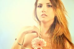 Jeune jolie verticale de femme Couleurs ensoleillées douces Belle fille Photo libre de droits