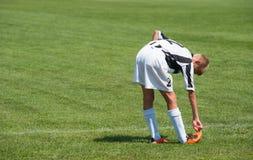 Jeune joueur de football Photo stock