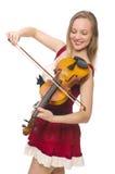 Jeune joueur de violon d'isolement Photo stock