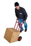 Jeune livreur d'isolement avec son camion de main 02 Images stock