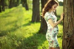 Jeune mère attirante marchant parmi les arbres Photographie stock