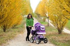 Jeune mère avec la poussette Photographie stock libre de droits