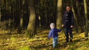 Jeune mère avec son fils jouant en parc 4k d'automne banque de vidéos