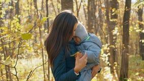 Jeune mère avec son petit fils en stationnement d'automne Peu garçon dans les bras de sa mère 4K banque de vidéos