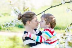 Jeune mère et peu de garçon d'enfant ayant l'amusement dans le jardin de floraison Images libres de droits