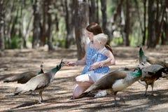Jeune mère et une alimentation des enfants un paon photo stock